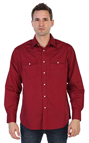 (Gioberti Mens Western Solid Long Sleeve Shirt with Pearl Snap-on, Burgundy, Medium Slim Fit)
