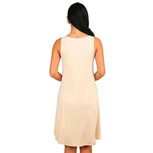 Dress T Pocket Sleevesless Shirt Crew Neck Dreamskull Beige Dresses Tunic Casual Women's Casual UCn1qwUZ0X