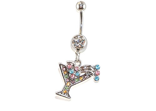 Martini Glass Dangle Surgical Steel Belly Button Ring 14G 3/8 bar Length With Cubic Zirconia Stones - Belly Dangle Ring Martini Glass