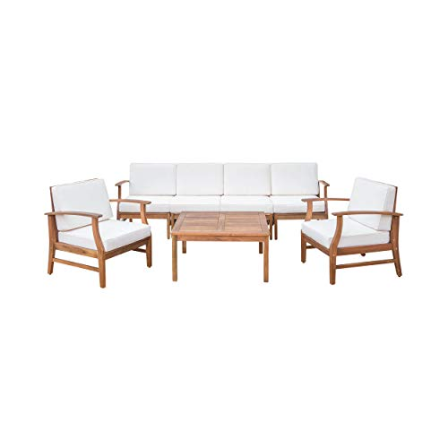 Lorelei Outdoor 6 Seater Teak Finished Acacia Wood Sofa and Club Chair Set with Cream Water Resistant Cushions