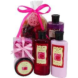Rose Spa Gift Set by Art de Moi, 6 Piece Kit with Shower Gel, Moisturizing Lotion, Bubble Bath, Body Butter, Soap Flower Petals and Potpourri Great Gift Idea for Women, ()
