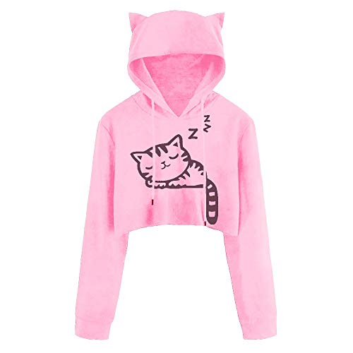 Own Kitty (DEATU Juniors Hoodies Women Cute Casual Long Sleeve Sport Coat Teen Girls Cat Kitty Print Short Blouse Top Pullover Sale(a-Pink,XL))