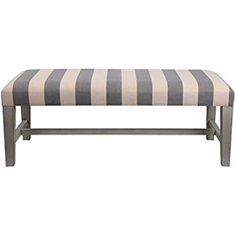 Privilege 68159 Fabric Cocktail Ottoman Striped Gray Off White