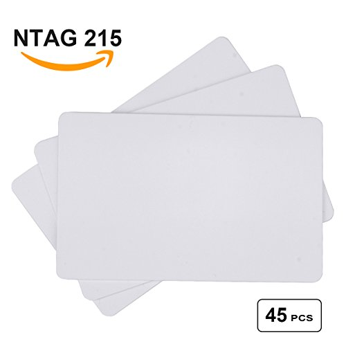 NTAG215 PVC Cards, DeedyGo Blank Printable NTAG215 NFC Cards, Plastic (PVC), ISO Size Cards, Work with TagMo and Nintendo Amiibo for All NFC Enabled Phones (45 PCS) Z10 Memory Card