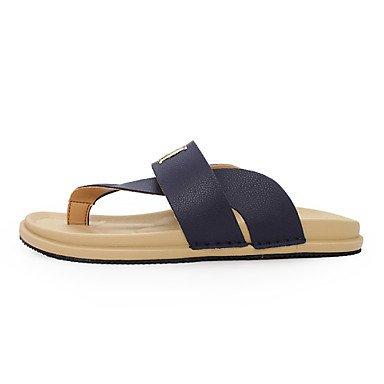 Los zapatos de los hombres sandalias de verano flip flops Sandals exteriores / Casual Zapatillas de cuero azul Royal / Marina / Orange Naranja