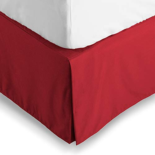 Bare Home Bed Skirt Double Brushed Premium Microfiber, 15-Inch Tailored Drop Pleated Dust Ruffle, 1800 Ultra-Soft, Shrink and Fade Resistant (Twin XL, Red)