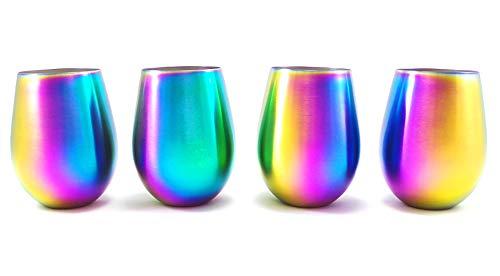 Shatterproof Stainless Steel Wine Glasses Set of 4 Titanium Rainbow Colored Finish Stemless