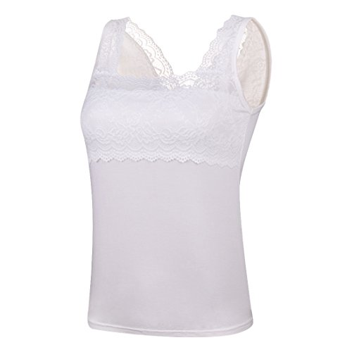 Trim Sequin Tank (Bella Moda Women Lace Trim Strap Tank Tops Camisoles (Medium, White))