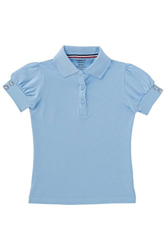 French Toast Little Girls' Puff Sleeve Double Button Polo, Light Blue, X-Small/4/5