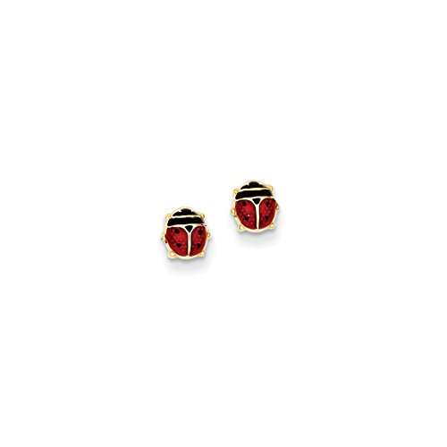 ICE CARATS 14kt Yellow Gold Enameled Ladybug Post Stud Ball Button Earrings Animal Insect Fine Jewelry Ideal Gifts For Women Gift Set From Heart (Gold 14kt Ladybug Earrings Jewelry)