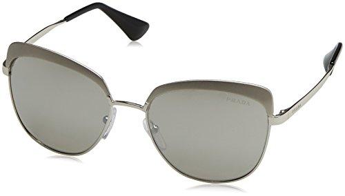 Prada Women's 0PR 51TS Metallized Silver/Light Grey Mirror Silver - Oval Shape For Sunglasses