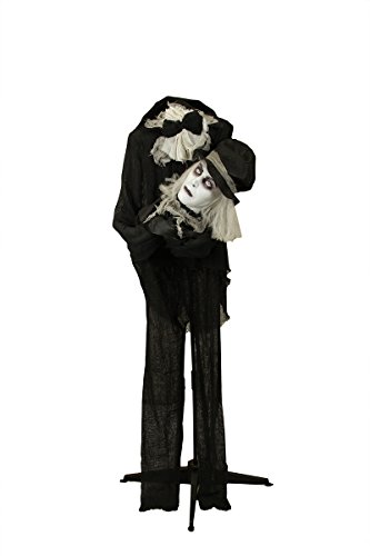 HALLOWEEN LIFESIZE ANIMATED GHOSTLY GOTHIC ZOMBIE WITH ROTATING HEAD IN HANDS PROP -