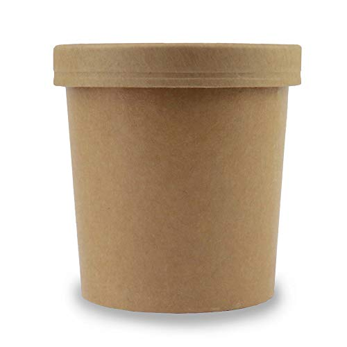 16 oz Freezer Containers And Lids - Kraft Paper To Go Cups - Durable Heavy Duty Pint Ice Cream Containers! Non-vented Lids Prevent Freezer Burn! Fast Shipping - Frozen Dessert Supplies - 25 Count (Kraft Container)