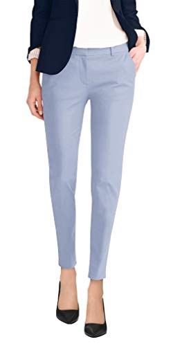 (Super Comfy Womens Flat Front Stretch Trousers Pants PW31203T Powder BLU 1)