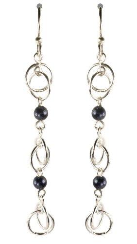 Bali Sky Long Dark Blue Bead Cascading Circles Drop Earrings WE054-G1