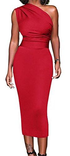 Domple Femmes Sexy Une Robe Midi Cocktail Solide Moulante Sans Manches À L'épaule Rouge