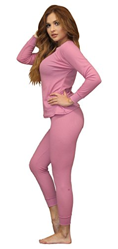 (Moet Fashion Women's Soft 100% Cotton Waffle Thermal Underwear Long Johns Sets (Medium, Pink))