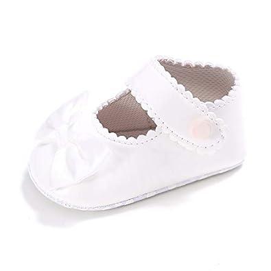 TUZAMA Infant Baby Girls Mary Jane Burnish Pu Leather Bowknot Pincess Prewalker Christening Baptism Soft Sole Crib Shoes