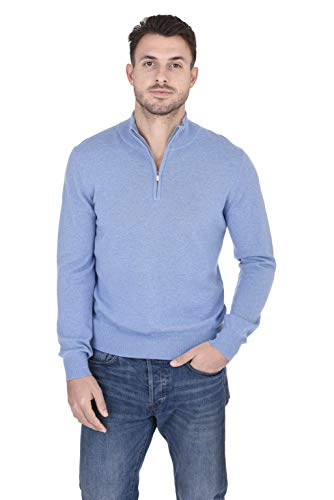 - Cashmeren Men's 100% Pure Cashmere Classic Knit Soft Half Zip Mock Neck Pullover Sweater (Baby Blue, X-Large)