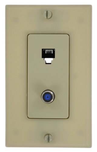 Leviton 40159-I Decora Telephone/Video Wall Jack Assembly, 6P4C + F, Screw Terminals, Ivory -