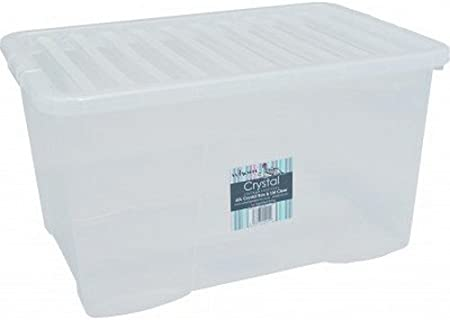 60L contenedor caja de almacenamiento de plástico transparente de 60 litros con tapa casa oficina: Amazon.es: Hogar