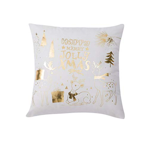 WWFFOO Throw Pillow Covers Set Cushion Cases Christmas Bronzing Series Super Soft Short Plush Cushion Cover 45x45cm 18 X 18 Inch Deer Pattern Design Pillowcase for Sofa Bedroom Car (G)