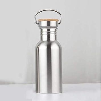 RKZM Termo de Acero Inoxidable Botella de Agua Deportiva con Tapa de Madera Aislamiento térmico portátil Frasco de vacío Café Té Thermocup 350Ml