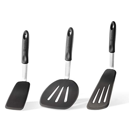 DI ORO Chef Series 3-Piece Silicone Turner Spatula Set - 600ºF Heat-Resistant Flexible Rubber Silicone Spatulas - Best Silicone Cooking Utensil Set - Egg Turners, Pancake Flippers, Kitchen Spatulas
