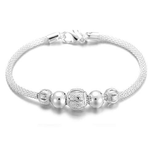 (Xeminor Stockton Bracelet Fashion Ladies Silver Network Flower Beads Bracelet Chain Hanging Bangle Jewelry Accessories)