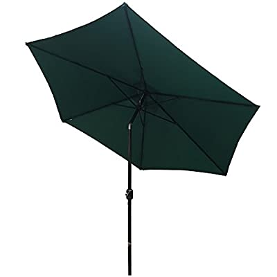 "Palm Springs 8ft Aluminium Patio Umbrella w/Tilt - Green - Rapid setup time. Durable construction. Crank open/close system with tilt Press button to adjust tilt left or right. Ideal for use on 4-6 garden furniture sets. Space-saving storage 180g/m2 polyester fabric. 8ft (96"") aluminum pole. - shades-parasols, patio-furniture, patio - 31ZFtEunqTL. SS400  -"