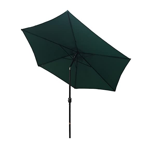 "Palm Springs 8ft Aluminium Patio Umbrella w/Tilt - Green - Rapid setup time. Durable construction. Crank open/close system with tilt Press button to adjust tilt left or right. Ideal for use on 4-6 garden furniture sets. Space-saving storage 180g/m2 polyester fabric. 8ft (96"") aluminum pole. - shades-parasols, patio-furniture, patio - 31ZFtEunqTL. SS570  -"