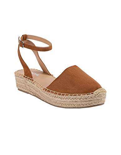 SODA Fiesta Womens Casual Espadrilles Trim Rubber Sole Flatform Studded Wedge (Tan, 10)