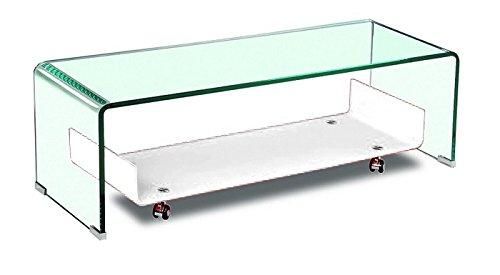 Hogar Decora Mesa TV, Cristal Transparente-Blanco, 120x40 cm ...