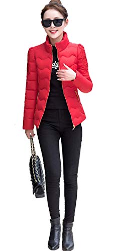 Cortos Manga Delgado Otoño Acolchado Abrigo Chaqueta Pluma Invierno Plumas Outdoor Elegantes Caliente Día Casuales Larga Moda Rot Acolchada Mujer OwYqZ