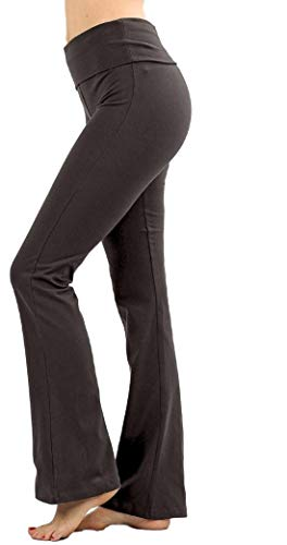 Active Wear Womens Yoga Foldover Cotton Spandex Comfy Flare Lounge Pants Gym Fitness Workout (Ash-Gray, ()