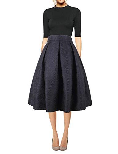 Pleated Skirt Dress - Hanlolo Women Knee Length Floral Skirt Pleated Flared Midi Circl Skirts Dress