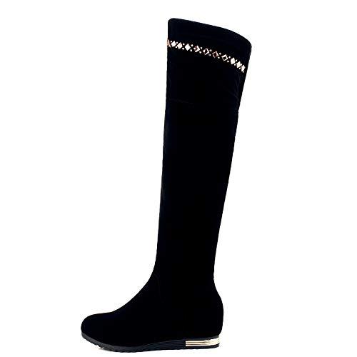 HBDLH Damenschuhe Martin Stiefel Boden Heel 6 cm Winter Flachen Boden Stiefel Innerer Größe Über Knie - Stiefel d85cb7