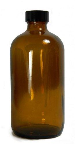 Qorpak GLC-01967 Amber Glass Boston Round Bottle with 24-400 Black Phenolic Pulp/Vinyl Lined Cap, 60mm OD x 138mm Height, 8oz Capacity (Case of 24)