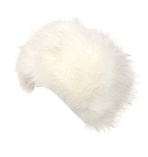 La Carrie Women's Faux Fur Hat for Winter with Stretch Cossack Russion Style White Warm ()