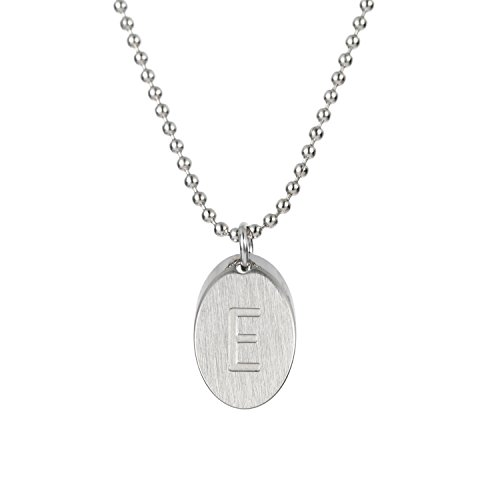 HUAN XUN Handwritting Initial Disc Necklace Font E Stainless Steel 16