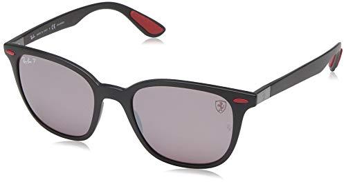 Ray-Ban RB4297M Scuderia Ferrari Collection Square Sunglasses, Matte Black/Polarized Purple Silver Mirror, 51 mm (Collection Sunglasses)