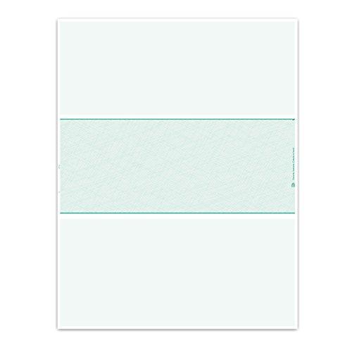 Blank Laser Checks - 500 - Middle Position Green Quickbooks/Quicken (Laser Middle Payroll Checks)