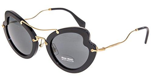 (MIU MIU SCENIQUE Butterfly 11R Shiny Black Gold Mirrored Sunglasses MU11RS)