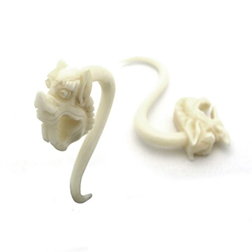 Pair of Hand Carved Organic Horn Bone Hanging Body Piercing Jewelry Asian Dragon Head Chinese New Year (5mm (4g))