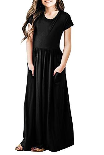 Dutebare Girls Maxi Dress Short Sleeve Casual Empire Waist Long Party Dress Black s 120