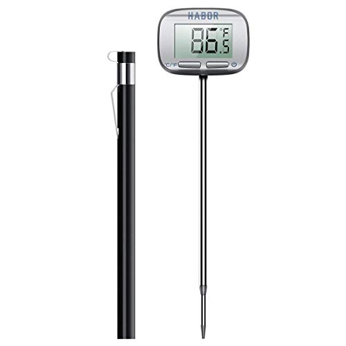 [Upgraded] Meat Thermometer, Habor Instant Read Thermometer, 4.7 inches Digital Cooking Thermometer with Larger LCD Display and Swiveling Head for Kitchen Food BBQ Grill Smoker Milk by Habor