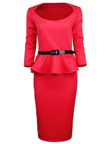 Buy belted peplum dress - 1