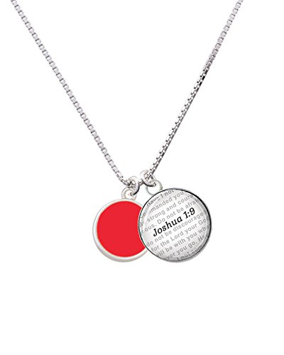 1 Red Enamel Disc (Silvertone Small Red Enamel Disc - Bible Verse Joshua 1:9 Glass Dome Necklace, 18