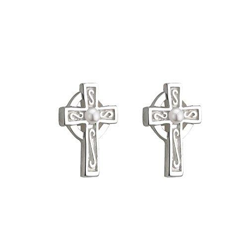Child's Celtic Cross Earrings Silver Plate & Faux Pearl