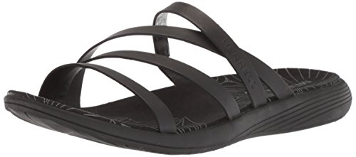 Merrell Women's Duskair Seaway Slide Leather Sandal, Black, 10 Medium US